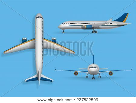 Realistic Passenger Airplane Mock Up, Airliner In Top, Side, Front View. Modern Aircraft Flight Isol