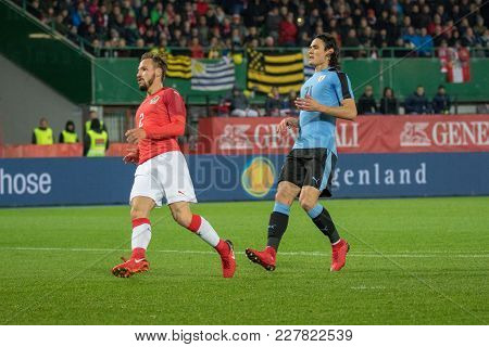Vienna, Austria, 2017/11/14: Edinson Cavani And Andreas Ulmer At Friendly International Soccer Match