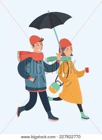 Vector Cartoon Illustration Of Walking Couple Walking On The Street Under Umbrella. Happy Couple. Fu