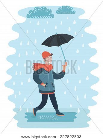 Vector Cartoon Funny Illustration Of Man Walking With Umbrella On The Street. Bad Rainy And Wind Wea