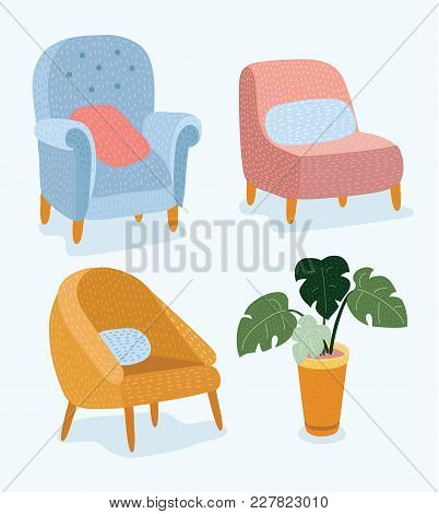 Vector Cartoon Funny Illustration Of Set Of Hand Drawn Stylish Furniture With Wooden Legs And The Po
