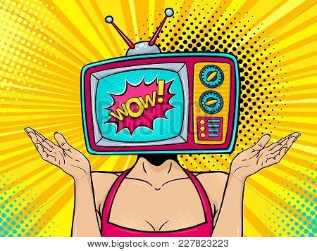 Wow Female Face. Sexy Young Surprised Woman With Retro Tv Set On Her Head With Wow Speech Bubble Ris