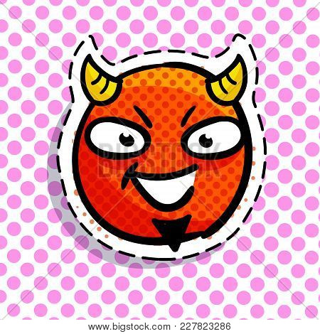 Devil Smile On Dots Background. Art Design For Valentines Day Greetings And Card In Pop Art Syle.