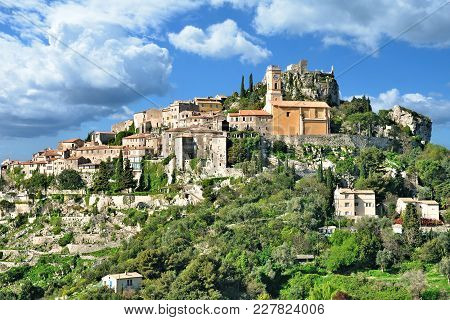 The Medieval Village Of Èze At French Riviera Near Monaco,cote D`azur,south Of France