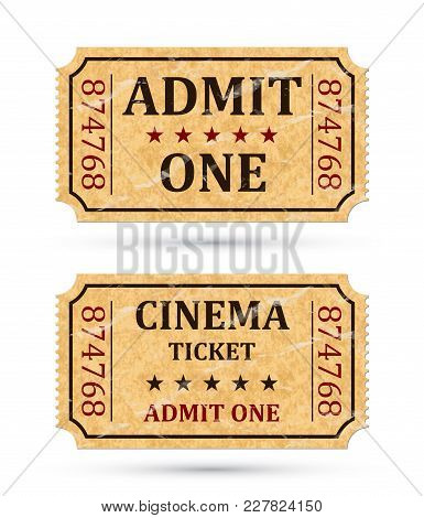 Admit One Ticket And Cinema Ticket. Two Old Admission Tickets Isolated On White Background. Vector I
