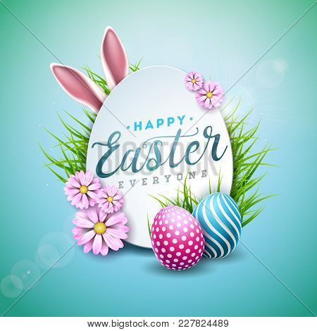 Vector Illustration Of Happy Easter Holiday With Painted Egg, Rabbit Ears And Flower On Shiny Blue B