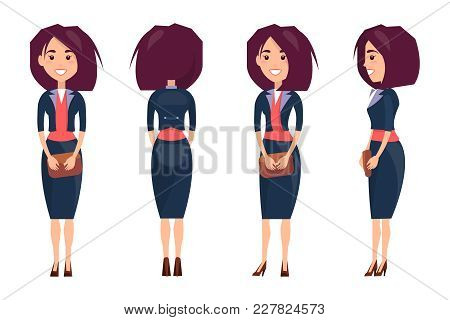 Businesswoman In Suit With Skirt And Stilettos Holds Small Purse From All Sides Isolated Cartoon Fla
