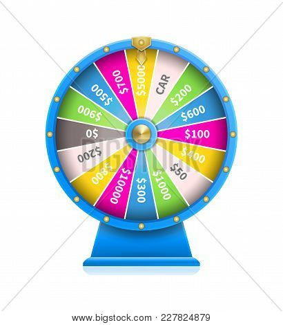 Fortune Wheel Of Luck Automatic Gambling Machine In Blue Framing Vector Illustration Isolated On Whi