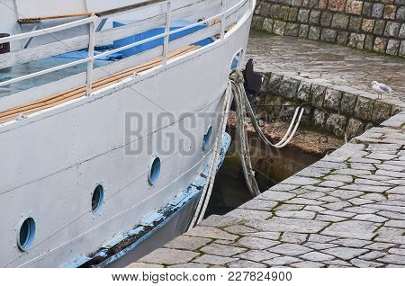 Detail Of An Old Tourist Boat Moored At A Small Pier In Ohrid Lake