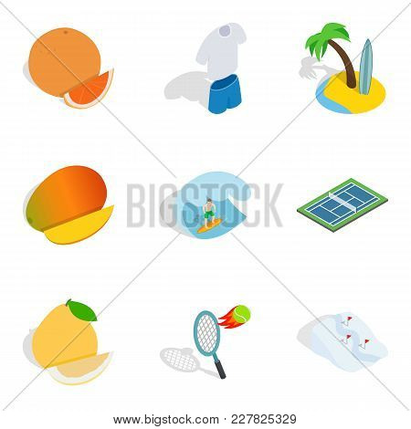 Fitness Body Icons Set. Isometric Set Of 9 Fitness Body Vector Icons For Web Isolated On White Backg