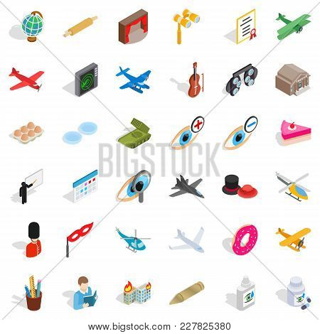 Encroachment Icons Set. Isometric Set Of 36 Encroachment Vector Icons For Web Isolated On White Back