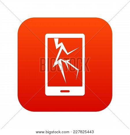 Cracked Phone Icon Digital Red For Any Design Isolated On White Vector Illustration
