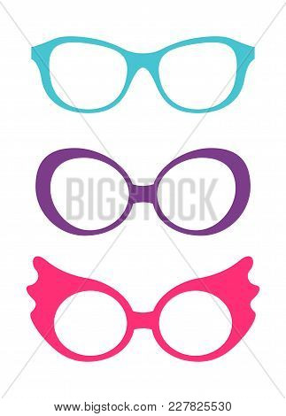 Spectacles Accessory Poster, Collection Of Glasses Of Different Colors, Eyesight Problems And Fashio