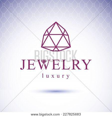 Vector Shining Gemstone Design Element. Brilliant Jewelry Sign Emblem, Illustration.