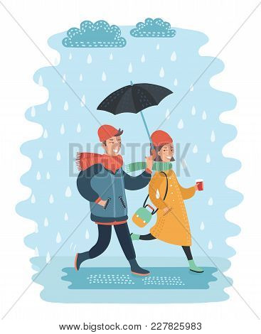 Vector Cartoon Funny Illustration Of Loving Couple Under An Umbrella In The Rain. Young People Walks