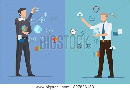 Two Online Business Posters Vector Illustration With Two Businessman S, Icons Of Earth, Clocks And C