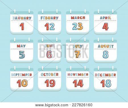 Vector Cartoon Illustration Of Calendar Month Current Year Set Stationery Or Reminder Modern Web Des
