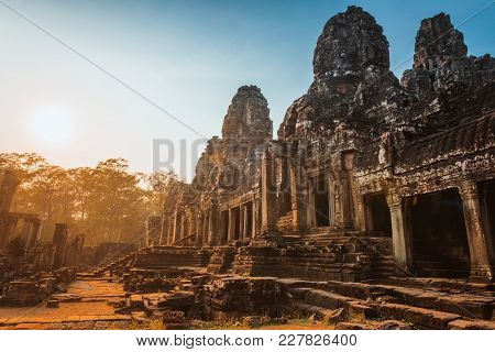 Statue Bayon Temple Angkor Thom, Cambodia. Ancient Khmer Architecture