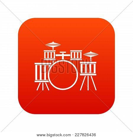Drum Kit Icon Digital Red For Any Design Isolated On White Vector Illustration