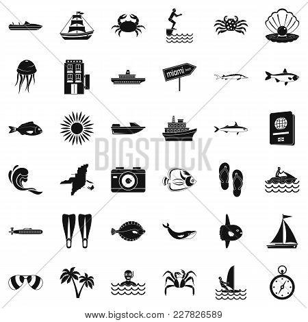 Pelagic Icons Set. Simple Set Of 36 Pelagic Vector Icons For Web Isolated On White Background