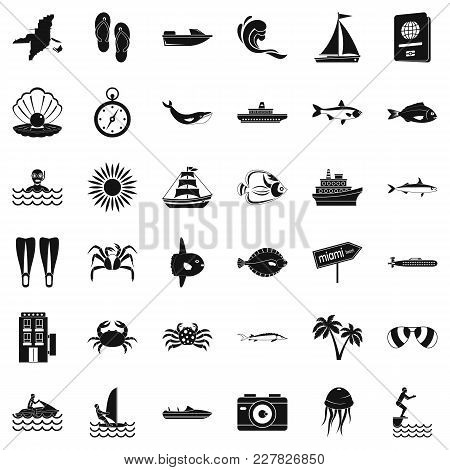 Oceanographic Icons Set. Simple Set Of 36 Oceanographic Vector Icons For Web Isolated On White Backg