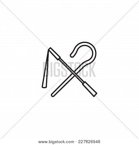 Egyptian Rod And Whip Icon In Line Style. Egypt Rod And Whip Object Vector Illustration Isolated On