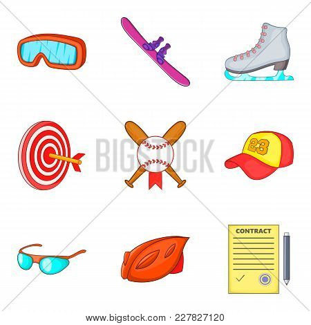 Hard Sport Day Icons Set. Cartoon Set Of 9 Hard Sport Day Vector Icons For Web Isolated On White Bac