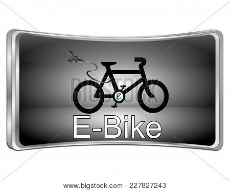 Silver E-bike Button Curved - 3d Illustration