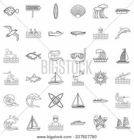 Water Supply Source Icons Set. Outline Set Of 36 Water Supply Source Vector Icons For Web Isolated O