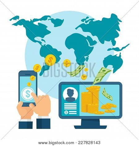 Money Transfer Using Mobile Device, Computer And Smart Phone With Banking Payment App. Internet Bank