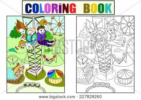 Tower Ride, Tallest Amusement Attraction. Childrens Color Book About An Amusement Park, Cartoon Blac