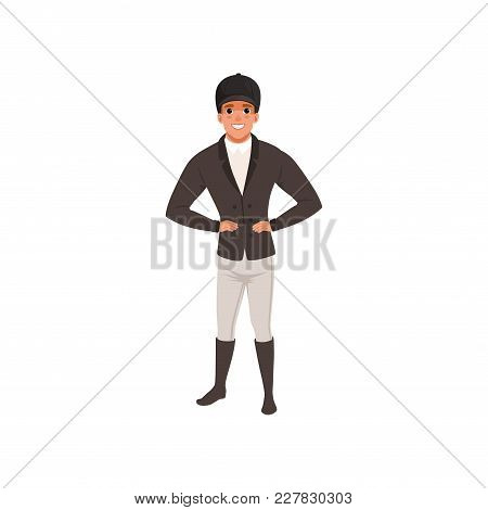 Jockey Man In Black Costume, Equestrian Professional Sport Vector Illustration On A White Background