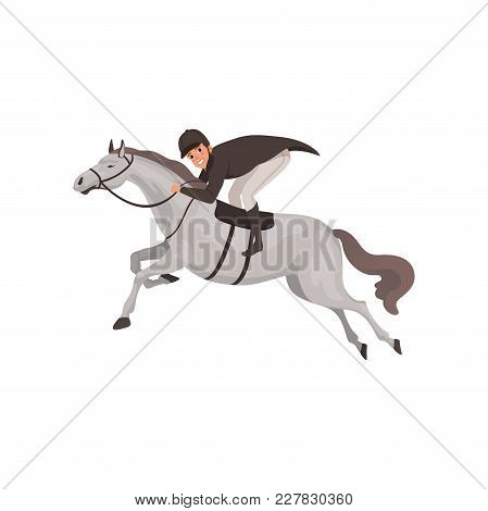 Jockey Man Riding Horse, Equestrian Professional Sport Vector Illustration On A White Background