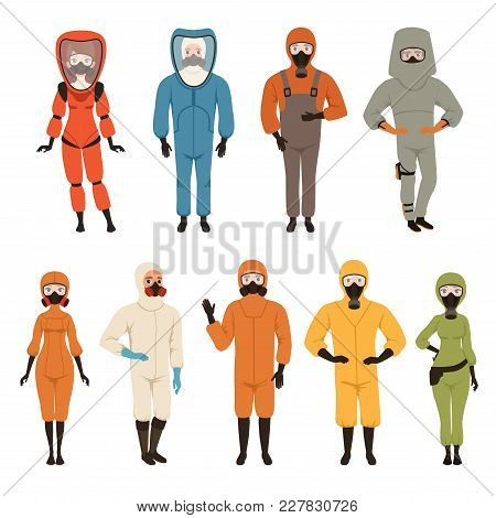 Protective Suits Set, Different Protective Uniform Equipment Vector Illustrations Isolated On A Whit