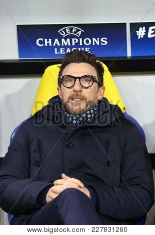 Kharkiv, Ukraine - February 21, 2018: As Roma Manager Eusebio Di Francesco Looks On During Uefa Cham