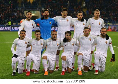 Kharkiv, Ukraine - February 21, 2018: As Roma Players Pose For A Group Photo Before Uefa Champions L