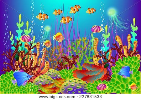 Underwater Background, Vector Illustration For Design Works And Banners, Vector Illustration