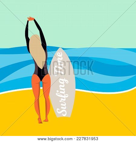 Young Female Surfer With Surfboard Standing On Sand Watching The Ocean. Flat Vector Illustration. Su