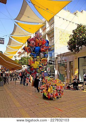 Nicosia, Cyprus - January 14, 2018: Tourists Walking In Ledra Street With Cafes, Bars, Souvenir Shop