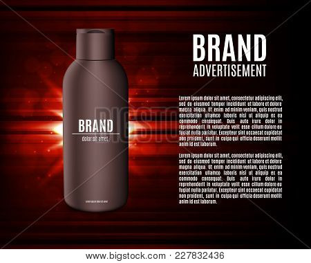 Premium Shampoo Ads. Realistic Cosmetic Bottle For Shampoo, Lotion Or Foam On A Red Background. Prem