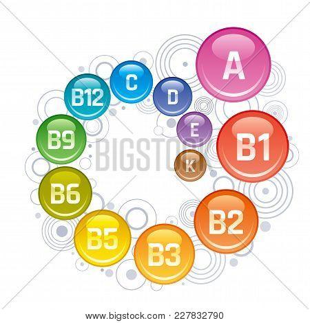 Multi Vitamin Complex Icons. Vitamin A, B Group - B1, B2, B3, B5, B6, B9, B12, C, D, E, K Multivitam