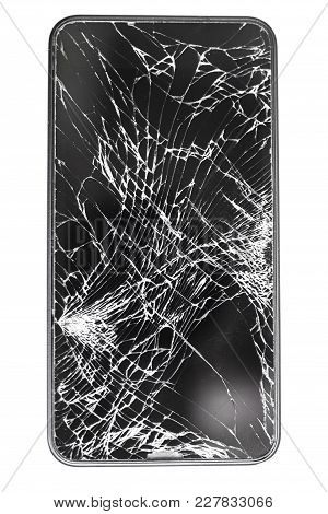 Broken Glass Screen Mobile Phone In Black On White Isolated Background