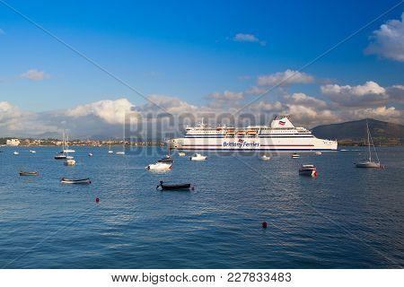 Santander,spain - July 1, 2017: Brittany Ferries In The Santander Harbor. Brittany Ferries Is A Fren