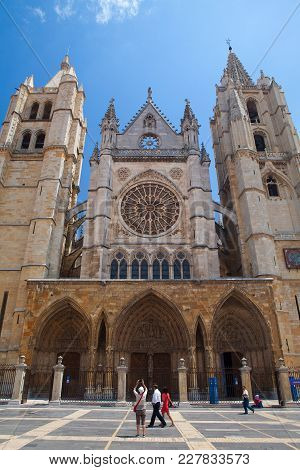 Leon,spain - July 5, 2017: The Cathedral In Leon. The Santa Maria Cathedral Of Leon Built On The Rui