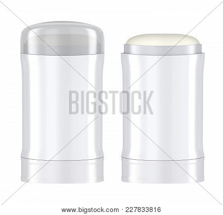 Front View Of Antiperspirant Sticks, Isolated On White Background. 3d Illustration