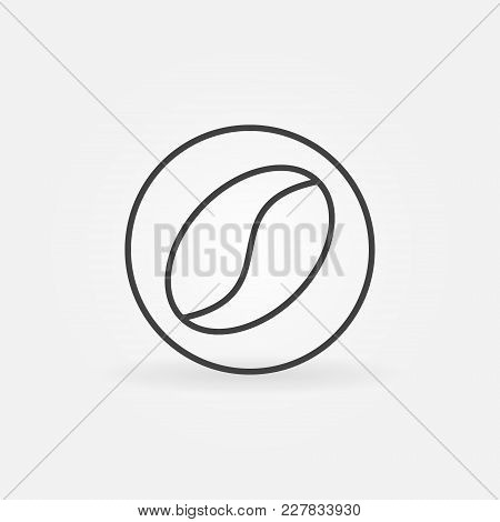 Coffee Bean In Circle Vector Icon Or Symbol In Thin Line Style