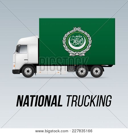Symbol Of National Delivery Truck With Flag Of Arab League. National Trucking Icon And Flag Design