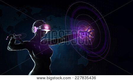 Augmented Reality Science, Future Technology And People Concept - Female Cyborg Robot In Futuristic