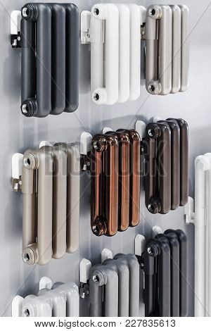 Radiator Heating Different In Design, Color And Material. Samples Of Different Products