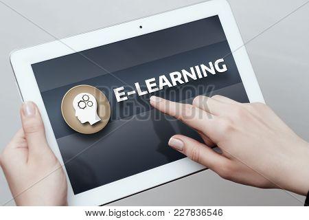 E-learning Education Internet Technology Webinar Online Courses Concept.